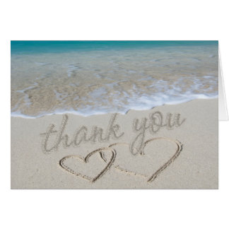 "Hearts in the Sand ""Thank You"" Note Card"