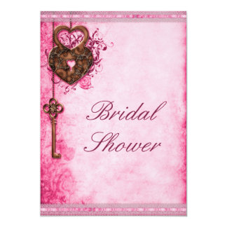 Hearts Lock and Key Pink Bridal Shower 13 Cm X 18 Cm Invitation Card