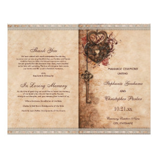 Hearts Lock and Key Wedding Ceremony Program Flyer