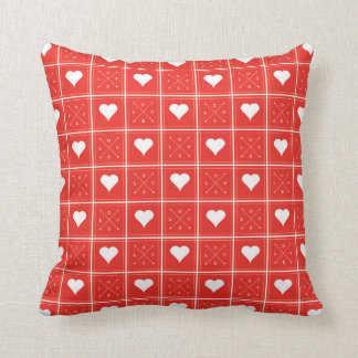 Hearts Love Checker Pattern with Arrows Red Throw Cushion