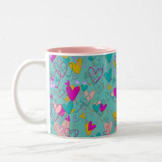 Hearts Love Romantic Powerful Dramatic Artistic Two-Tone Coffee Mug