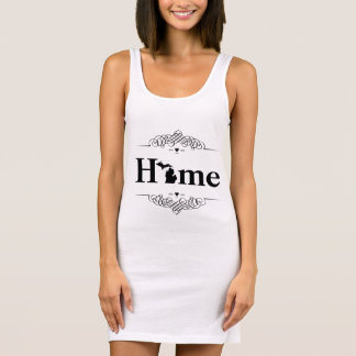 Hearts Map of Michigan with Map and the O in Home Sleeveless Dress