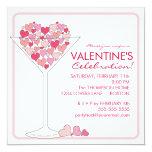 """Hearts Martini Valentines Day Party Invitation 5.25"""" Square Invitation Card"""