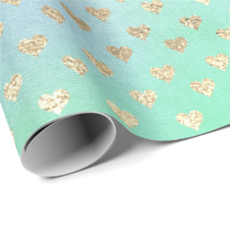 Hearts Metallic Mint Green Tiffany Blue Gold Pink Wrapping Paper