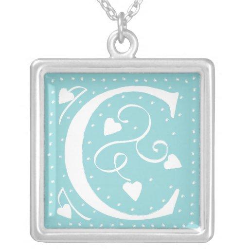Hearts Monogram Necklace - letter C