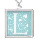 Hearts Monogram Necklace - letter L