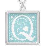 Hearts Monogram Necklace - letter Q