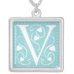 Hearts Monogram Necklace - letter V