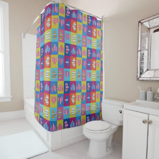 Hearts Multicolor Striped Shower Curtain