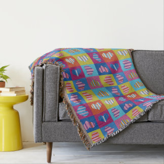 Hearts Multicolor Striped Throw Blanket