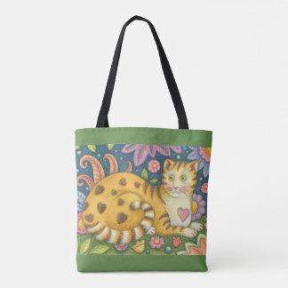 Hearts N' Stripes Tabby Folk Art CAT TOTE BAG