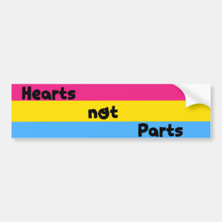 Hearts Not Parts Pansexual Pride Bumper Sticker