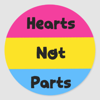 Hearts Not Parts Pansexual Pride Sticker