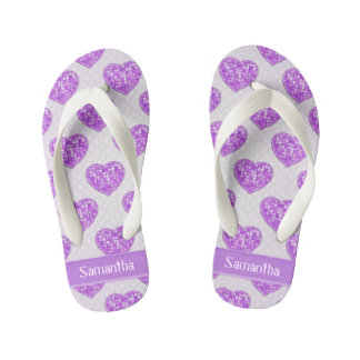 Hearts of Amethyst Tiles Offset Rows Personalized Kid's Thongs