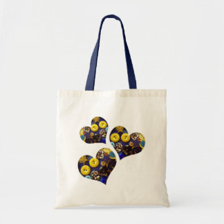 Hearts of Blue and Yellow Buttons Budget Tote Bag