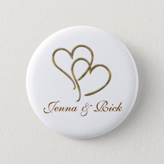 Hearts of gold 6 cm round badge