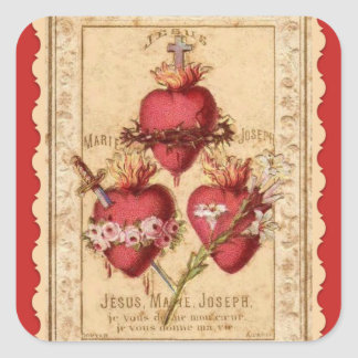 Hearts of Jesus & Mary & St. Joseph Square Sticker