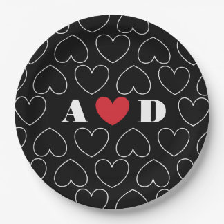 Hearts of Love Pattern with Couples Initials 9 Inch Paper Plate