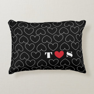 Hearts of Love Pattern with Couples Initials Decorative Cushion