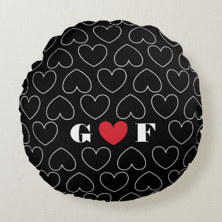 Hearts of Love Pattern with Couples Initials Round Cushion