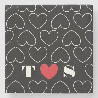 Hearts of Love Pattern with Couples Initials Stone Coaster
