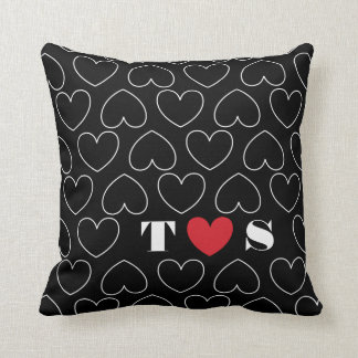 Hearts of Love Pattern with Couples Initials Throw Pillow