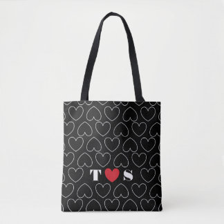 Hearts of Love Pattern with Couples Initials Tote Bag