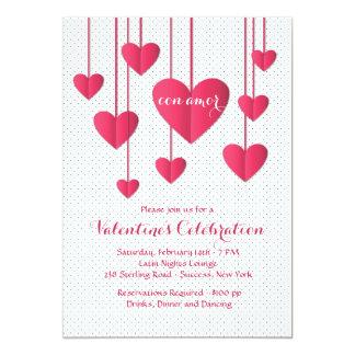 """Hearts On A String Con Amor Invitation 5"""" X 7"""" Invitation Card"""