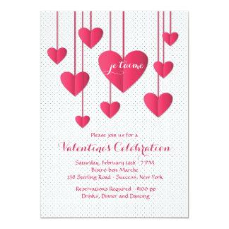 """Hearts On A String Con Amore Invitation 5"""" X 7"""" Invitation Card"""