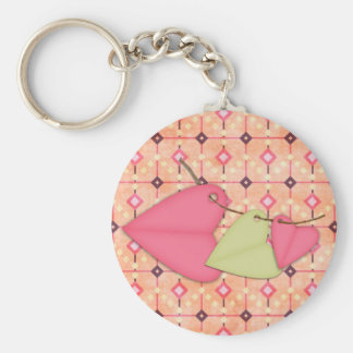 Hearts on a String Basic Round Button Key Ring