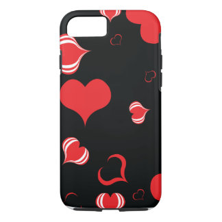 Hearts on black background iPhone 7 case