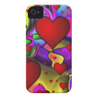Hearts on Bright Background iPhone 4 Covers
