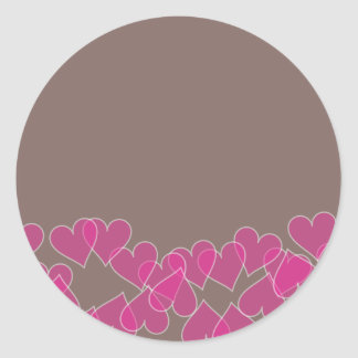 Hearts on Brown Sticker