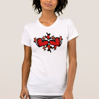 HEARTS ON FIRE GRAPHIC PRINT TEE SHIRTS