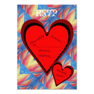 Hearts on Fire Romantic Valentines Day RSVP 9 Cm X 13 Cm Invitation Card