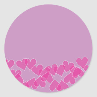 Hearts on Purple Stamps Classic Round Sticker