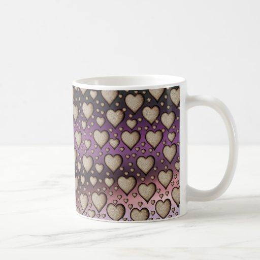Hearts on Shiny background Coffee Mugs