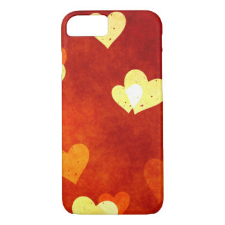 hearts on smooth red on an iphone7 case
