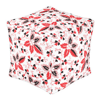 Hearts on the Vine and Holly Leaves Cube Pouffe