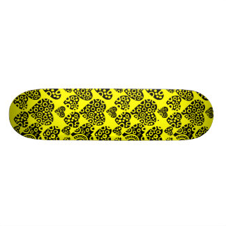 Hearts on Yellow 21.3 Cm Mini Skateboard Deck