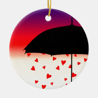 Hearts Original Design Round Ceramic Decoration