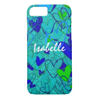 Hearts Ornate Artistic Vibrant Blue Personalized iPhone 8/7 Case