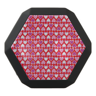 Hearts pattern black bluetooth speaker