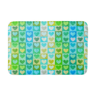 Hearts Pattern In  Blue And Green Bath Mat