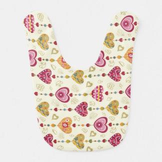 hearts pattern love art bib