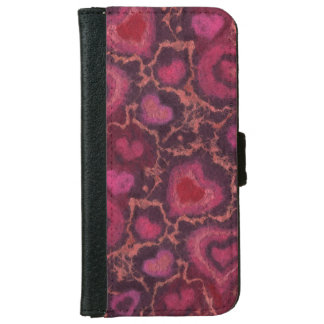 """Hearts"" pattern, red, burgundy & pink, fiber art iPhone 6 Wallet Case"