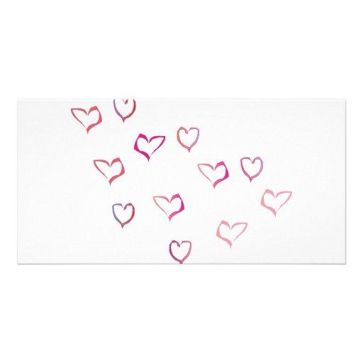 hearts custom photo card