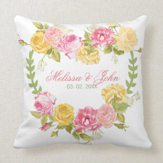 Hearts Pink And Yellow Roses Cushion