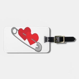 Hearts pins luggage tag