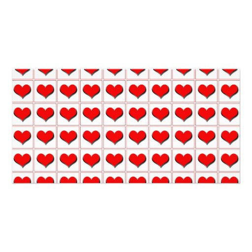 Hearts playing card suit pattern photo cards